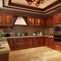 America style custom make solid wood kitchen cabinet