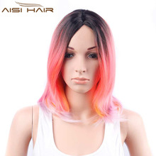 Synthetic Straight Ombre Rose Red Wigs Short Bob Wigs For American African Women Heat Resistant Fiber