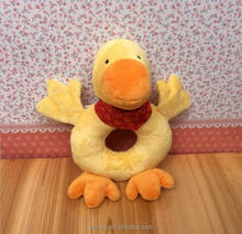 Lovely duck plush toy big yellow duck baby shaking hand bell