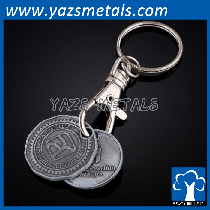 custom metal black nickle plated round keychain