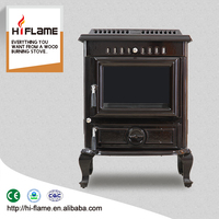 2016 HiFlame cast iron and enamel Wood burning stove with cast iron water jacket HF443BE Brown