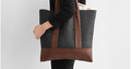 High quality woman felt tote shoulder bag with leather