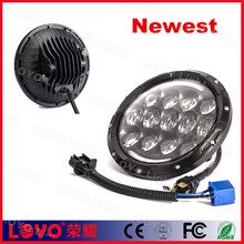"new arrival!!! 105w 7"" 7 inch round led headlight with angel eye for Harley"