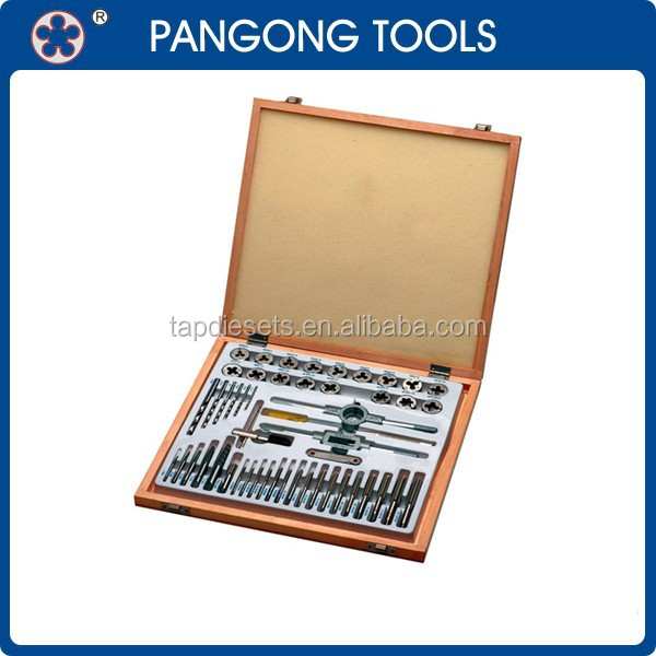 Universal 51PCS Metric Tap and Die and Drill Set in Wood Case