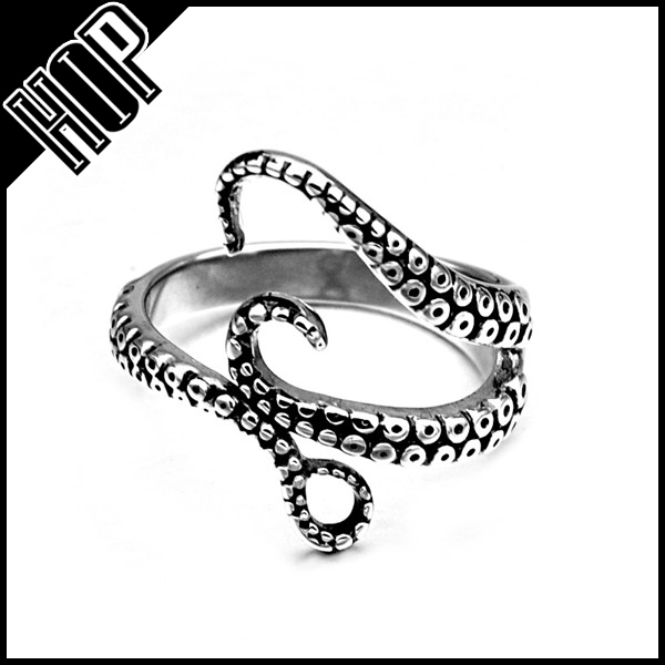 New Gothic Mens 316L Stainless Steel Octopus Tentacles Ring Adjustable Size