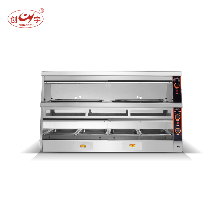 High Quality Independent Tank Design Stainless Steel Hot Food Display Showcase