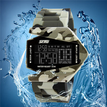 Camouflage airplane style led watch silicone strap zinc alloy case watch for men