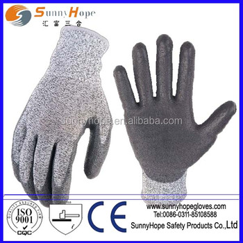 sunnyhope grey pu cut resistant safety gloves level 5