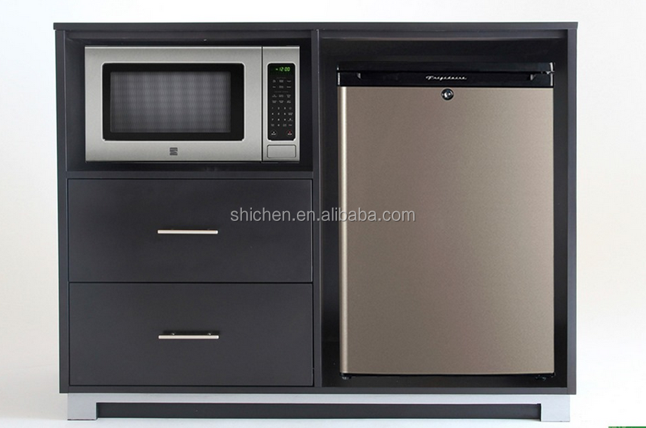 professional custom hotel bedroom special use microwave fridge cabinet