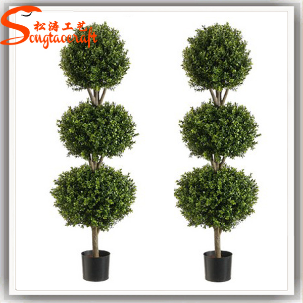 Outdoor Artificial Fake Plastic Green Gr Trees Evergreen Plants Boxwood Mat Topiary Decorative Home