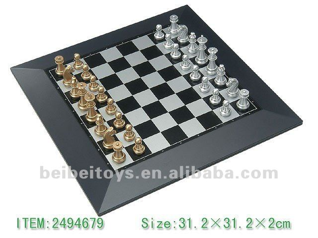 Magnetic Chess Set, Gold & Silver Pieces