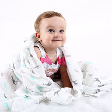 Custom printed Amazon Hot selling 100% organic cotton muslin baby swaddle blanket
