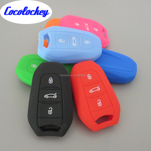 Silicone Rubber Car Key Cover For Peugeot 107 207 307 407 308 607 3buttons Flip Remote Key Card Case Protecting Jacket