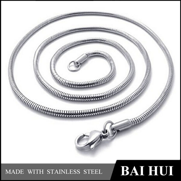 Wholesale Mens Stainless Steel Silver Round Snake Chain Necklace
