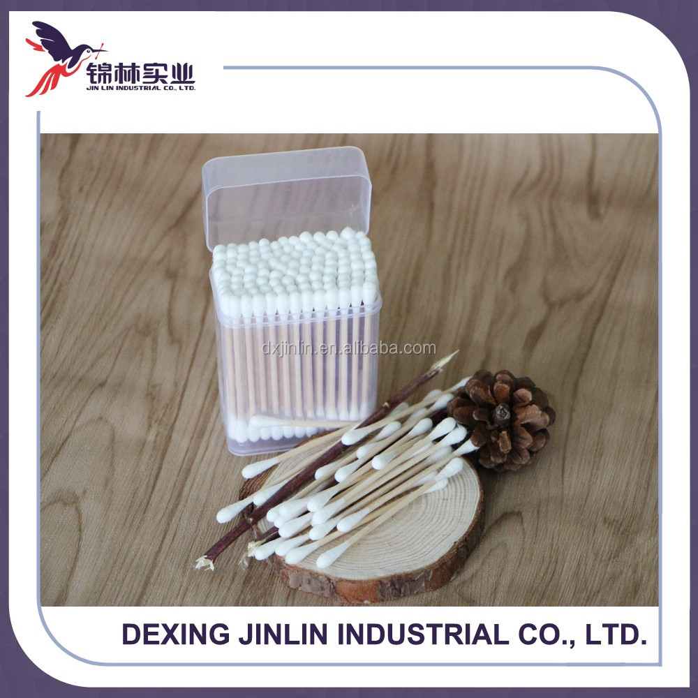 medical supplies disposable wooden hair cotton swabs
