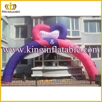 Custom Heart Shape Pink And Purple Advertising Inflatable Wedding Arch For Sale