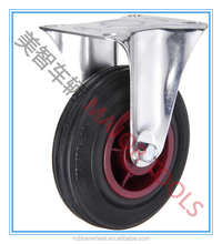 Heavy duty solid rubber caster wheel for shopping cart and dustbin