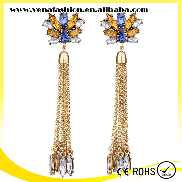 crystal long tassel flowe shaped bulk wholesale earring