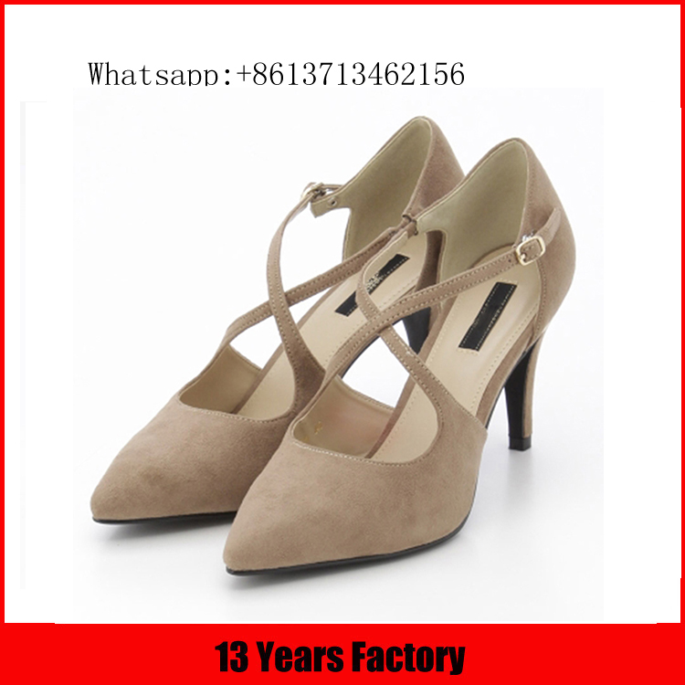2016 Newest nude women shoes pumps, Sexy Cross Straps women shoes, Beautiful Thin Heels Pointed Toe shoes women