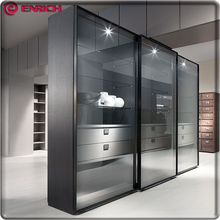 Guangdong manufacture modern style glass sliding doors wooden wardrobe closet