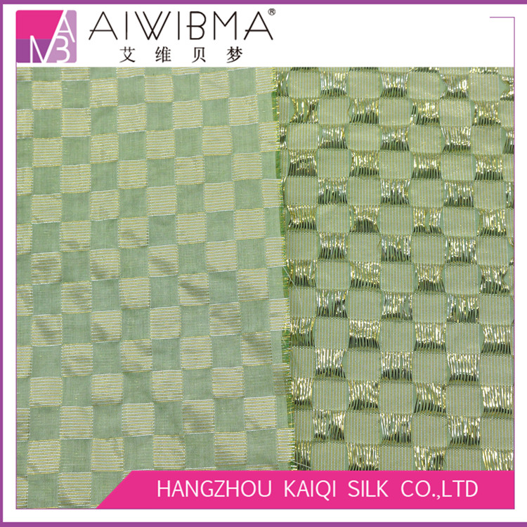 lurex/metallic crepe silk brocade fabric with checks pattern for high-end dresses and costumes