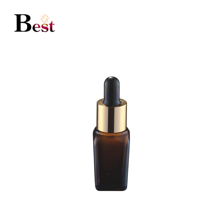 cosmetic packaging 30ml 50ml 100ml amber cosmetic dropper bottle brown square shape essential oil bottles with golden dropper