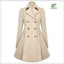 Women slim skirted winter coat pleated outwear overcoat