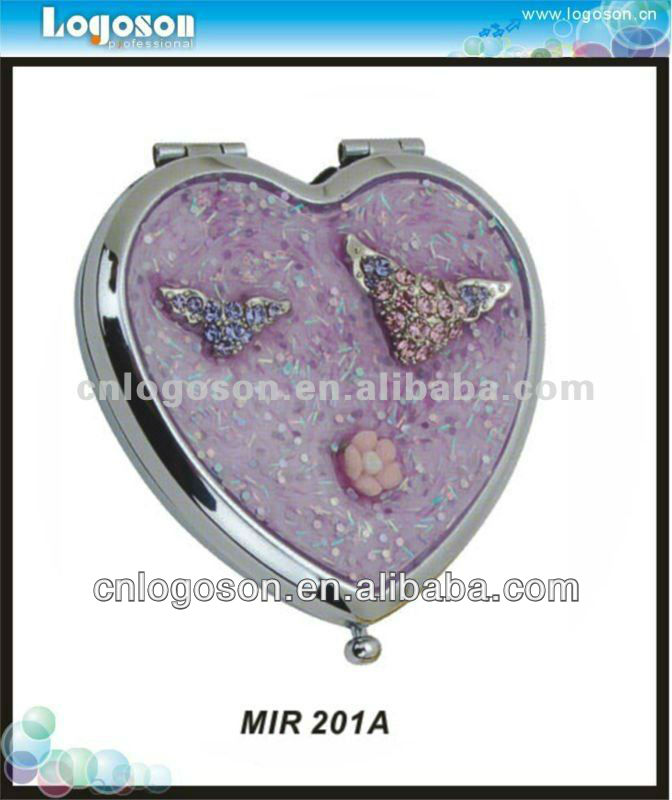 Heart shape handheld makeup decorative mirrors wholesale metal mirror