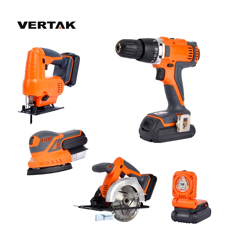 VERTAK 18V Battery Cordless Power Tool <strong>Set</strong> With Circular Hammer Drill Jig Saw Lighting And Sander
