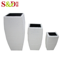 Wholesale hand woven plastic flower plant pot for garden decorative