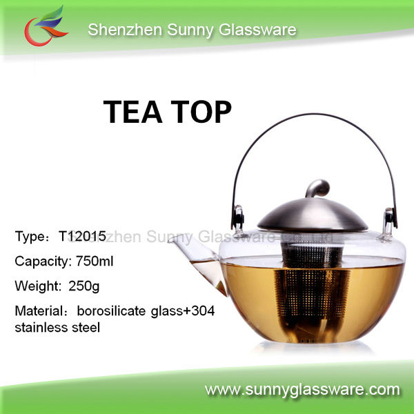 High temperature resistant borosilicate glass tea pot with handle
