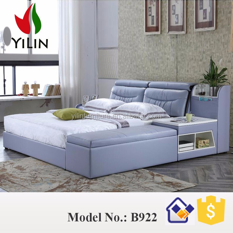 B922 home bedroom furniture latest leather soft <strong>bed</strong> with storage drawers