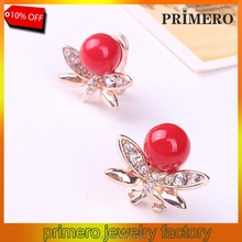 Cheap Chinese Factory Red Pearl Crystal Cherry Jewelry Earrings For Women Gift