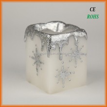 square shaped LED flameless candle light with drip finish