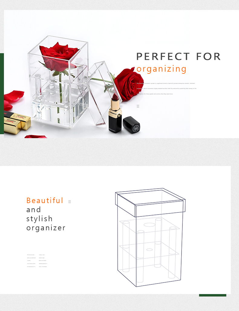 Nz C217 5 Square Acrylic Flower Box Wholesale Single Rose With Diagram Rosebox C271 01 02