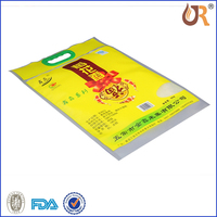 Four Side sealed Gusset plastic laminated grain or rice bag with three round finger holes