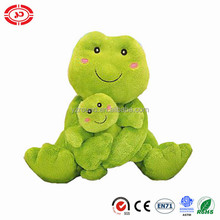 Green baby frog mummy care sitting plush soft stuffed ASTM toy