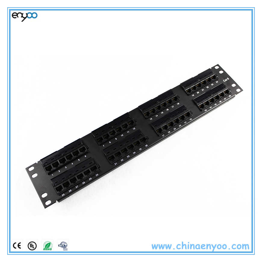 2U unloaded patch panel 48 port cat6 filled with keystone jack