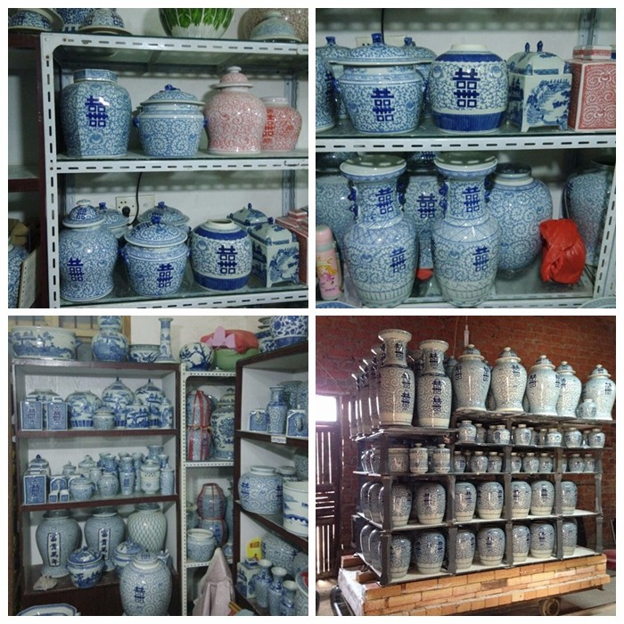 Retail Antique Hand Paint Blue And White Porcelain Happiness Jars