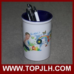 Personalized pencil holder with heat transfer picture printing