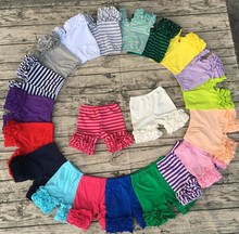 Wholesale popular solid candy color toddler icing baby leggings girls icing shorts kids ruffle shorts