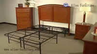 Metal Platform Bed Frame and Mattress Foundation Queen with wood headboard