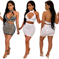 90622-MX35 reflective sexy backless short club dress for women