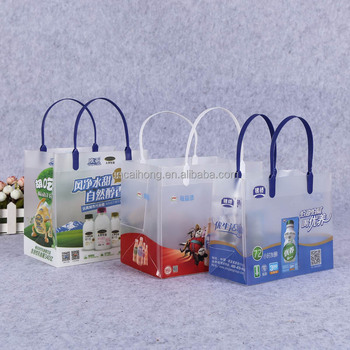 printed packaging bag custom shape pp plastic bag plastic tote bag for drinks