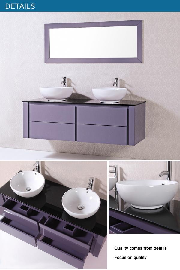 wall mounted double sink modern european design bathroom