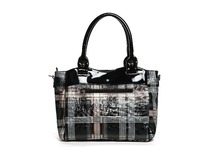 New Arrival Plaid Design Check Pu Handbag High End Lady Leather Handbag with Front and Back Compartments Hot Sale in USA