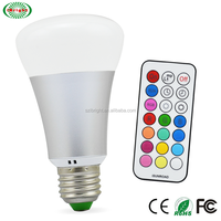 A60 E27 10w RGBW LED Light Bulb Color Changing and Cool White Dimmable with IR Remote Control,RGB