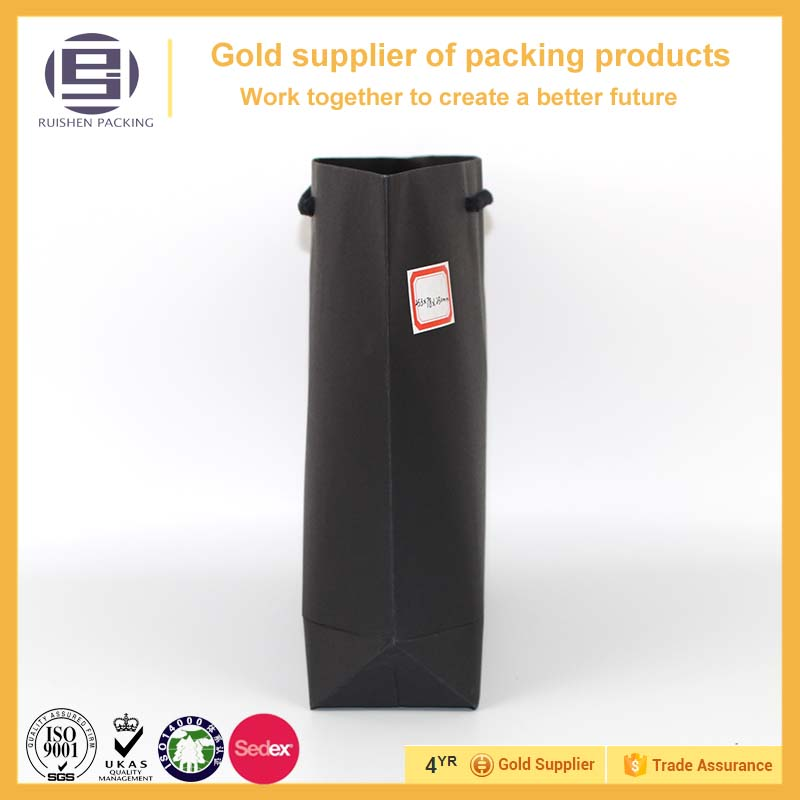 Large capacity black shopping kraft paper bag with handles