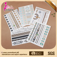 Temporary body gold and silver color printing gift tattoo sticker