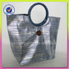 Women tote bag vertical stripes paper straw and polyester material handbag sealed wooden clasp it round handle